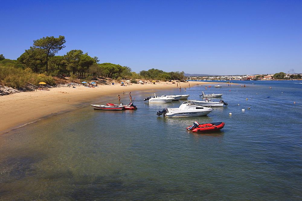 Ilha de Tavira, a sand dune island and popular beach, Ria Formosa Nature Park, Algarve, Portugal, Europe - 462-2457