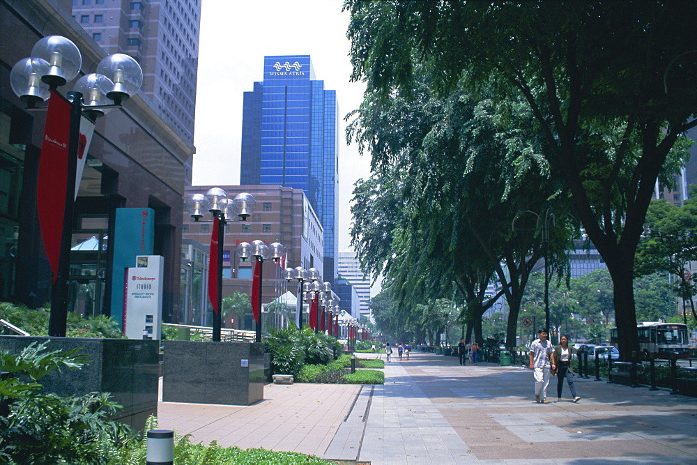Tree lined avenue of shops and malls, Orchard Road, Singapore, Asia