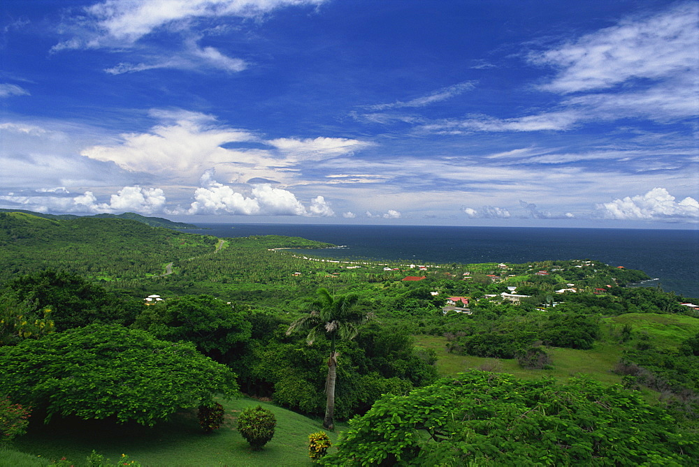 Aerial view over the grounds of Fort King George, built between 1784 and 1787, above the town of Scarborough, Tobago, West Indies, Caribbean, Central America