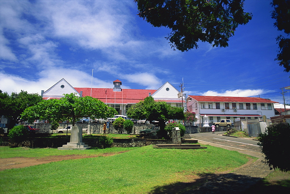 A government building in the main square, Scarborough, Tobago, West Indies, Caribbean, Central America