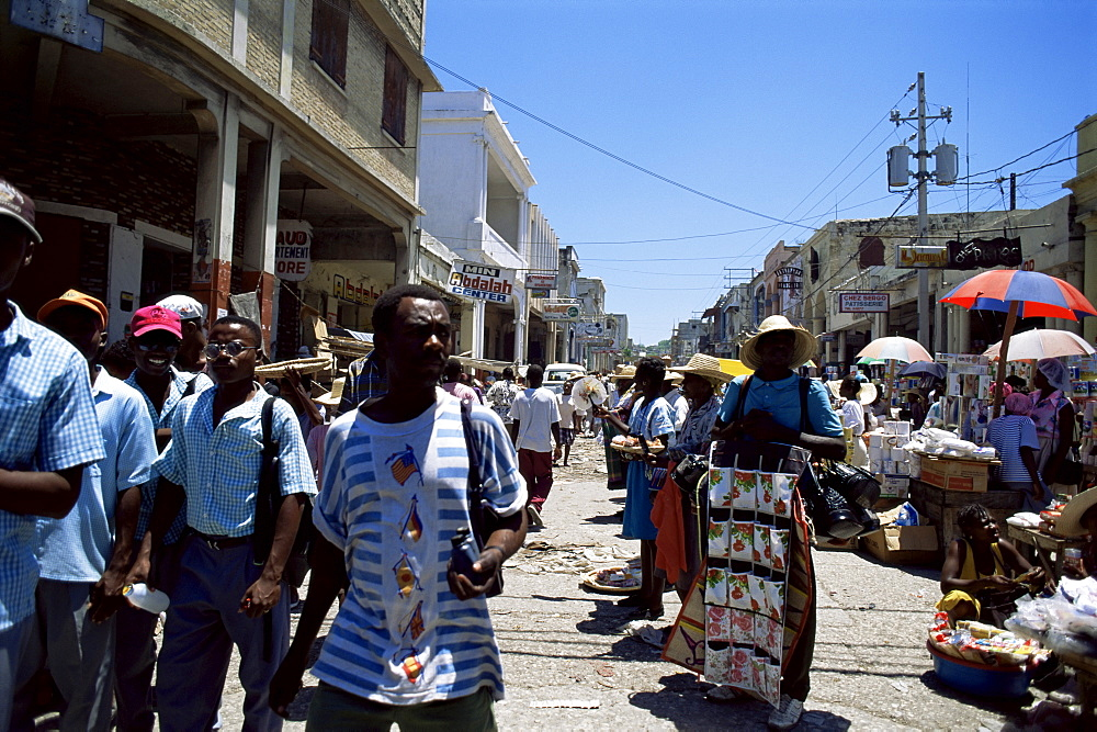 Market scene, downtown, Port au Prince, Haiti, West Indies, Central America