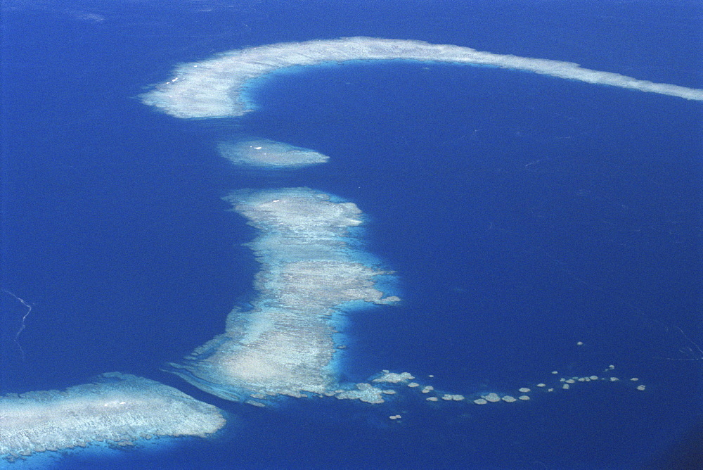 Aerial of offshore reef systems in the Solomon Islands, Pacific Ocean, Pacific