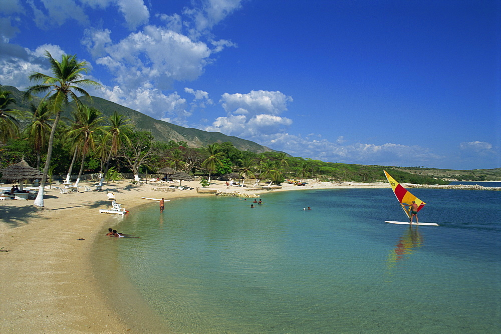 The beach at the Kyona Beach Club, near Port au Prince, Haiti, West Indies, Caribbean, Central America