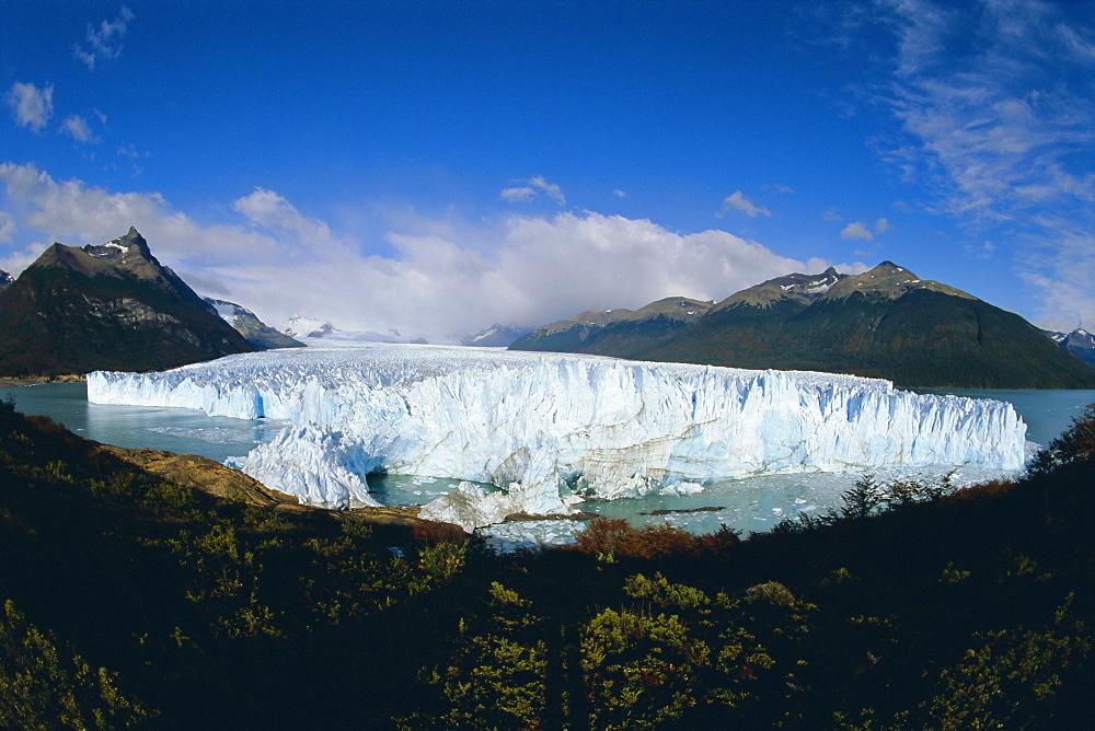 Perito Moreno glacier (25 km long, 2 km wide), has almost dammed the Tempano channel, Patagonia, Argentina, South America