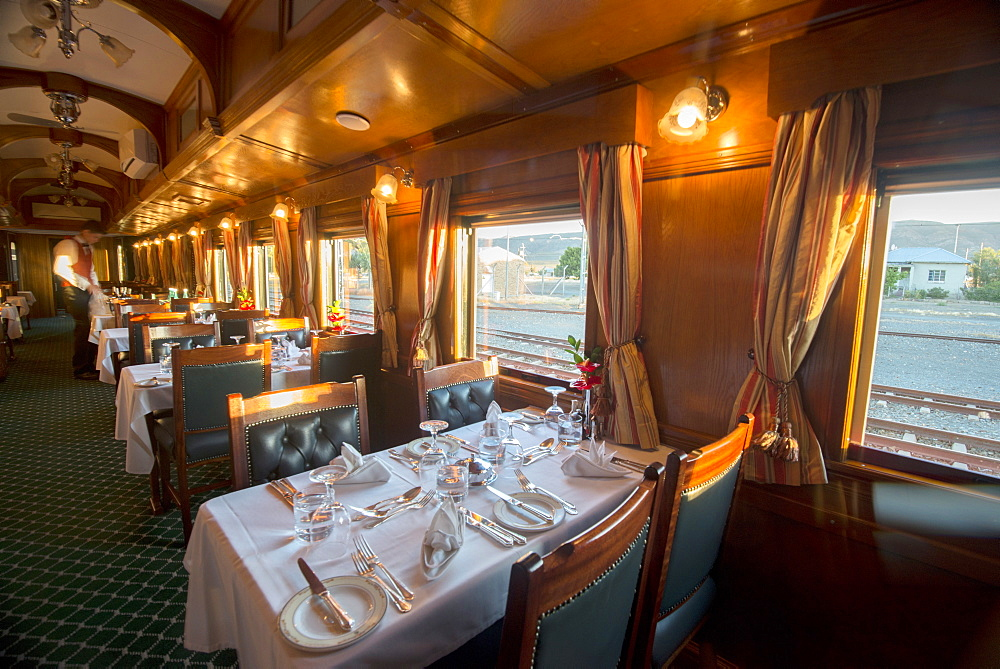 Rovos rail luxury train dining car, Northern Cape, South Africa, Africa