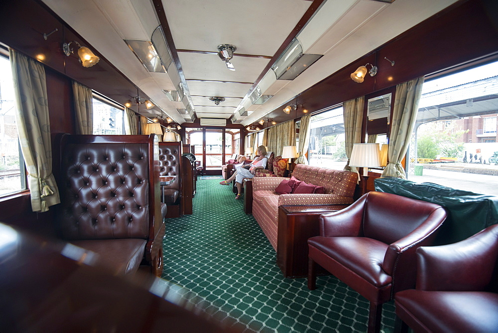 Observation car at the rear of the Rovos Rail luxury train seen from the bar, Northern Cape, South Africa, Africa
