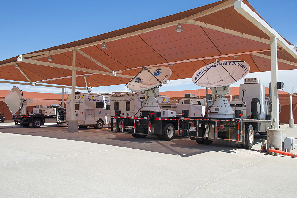 Dual-polarized X-Band mobile radar known as NOAA X-POL (NOXP), a mobile Doppler radar that operates on a 3cm wavelength (X-Band), National Weather Center, Oklahoma, United States of America, North America