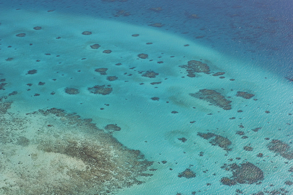 Aerial photography of coral reef formations of the Great Barrier Reef, UNESCO World Heritage Site, near Cairns, North Queensland, Australia, Pacific