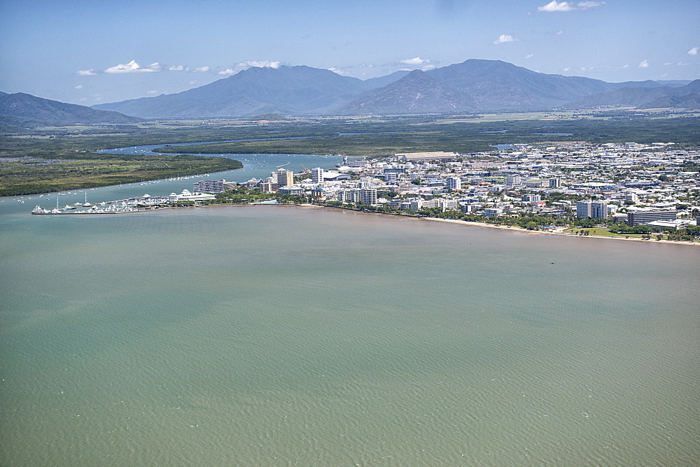 Aerial photograph of the city and the mouth of Trinity Inlet an important shelter for small shipping, Cairns, North Queensland, Australia, Pacific