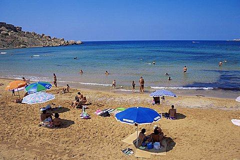 Beach at Ghajn Tuffieha Bay, Malta, Mediterranean, Europe