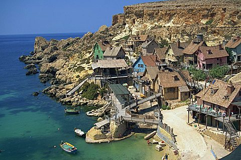 Popeye village, Anchor Bay, Malta, Mediterranean, Europe - 478-2182