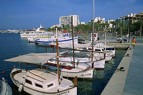 Moored boats in marina, San Antonio, Ibiza, Balearic Islands, Spain, Mediterranean, Europe