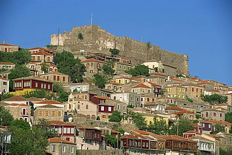 The town and castle on the skyline at Molyvos, on Lesbos, North Aegean Islands, Greek Islands, Greece, Europe - 478-2704
