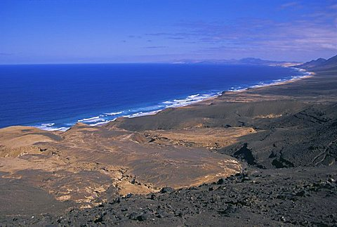 Atlantic coastline, Cofete Beach, Fuerteventura, Canary Islands, Spain, Europe - 478-2869