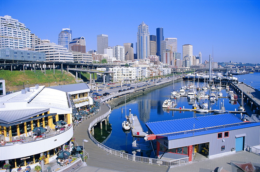 City skyline and waterfront, Seattle, Washington State, United States of America (U.S.A.), North America