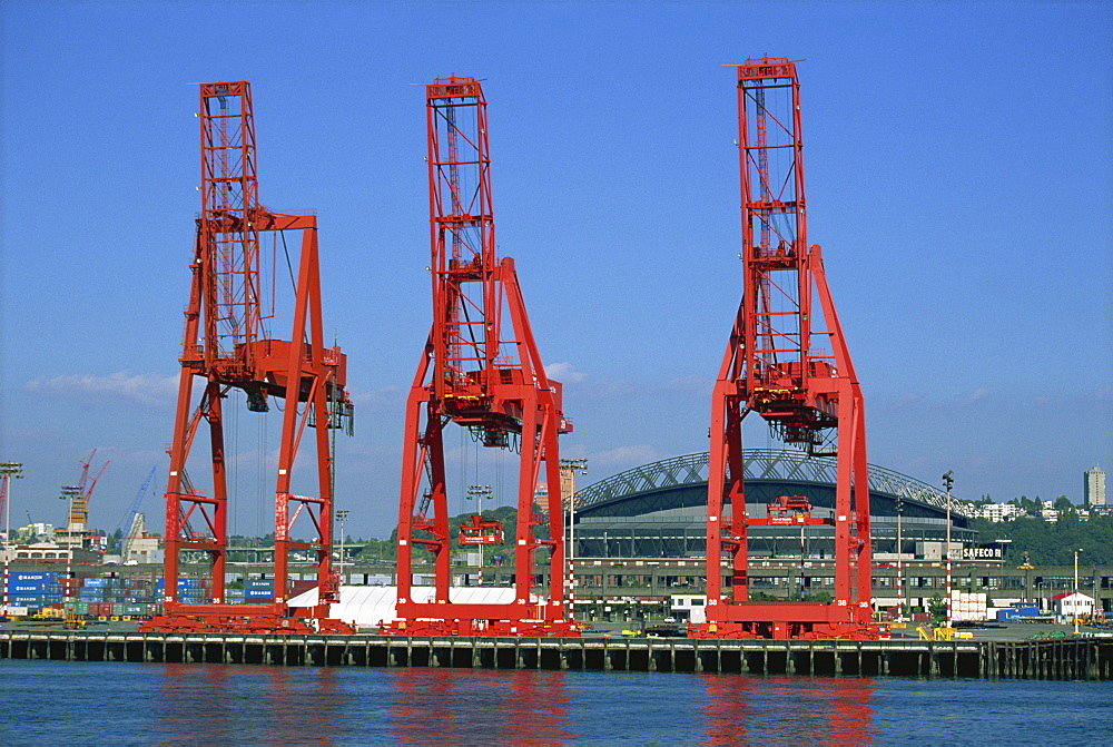 Dockside cranes, Seattle, Washington state, United States of America, North America