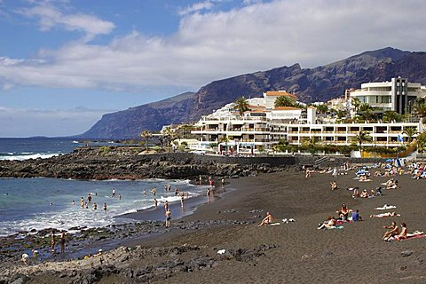 Playa de la Arena, Puerto de Santiago, Tenerife, Canary Islands, Spain, Atlantic, Europe