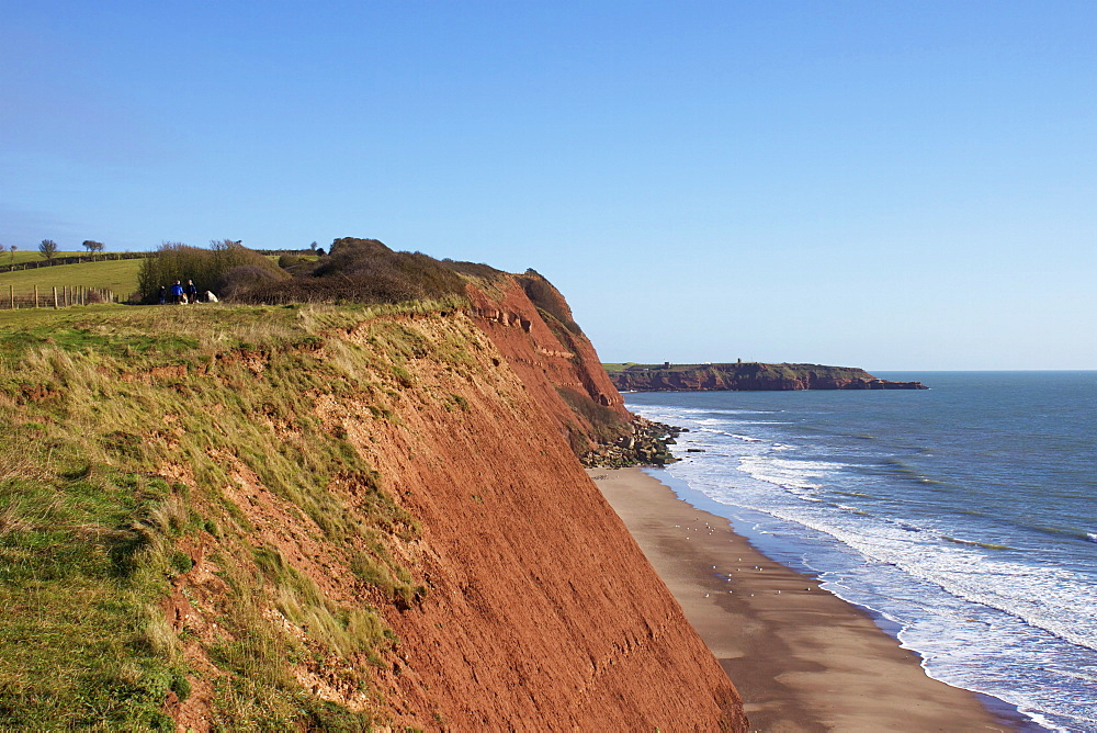 Sandy Bay and Straight Point, Exmouth, Jurassic Coast, UNESCO World Heritage Site, Devon, England, United Kingdom, Europe