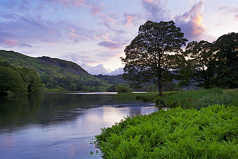 Sunset, Rydal Water, Lake District National Park, Cumbria, England, United Kingdom, Europe