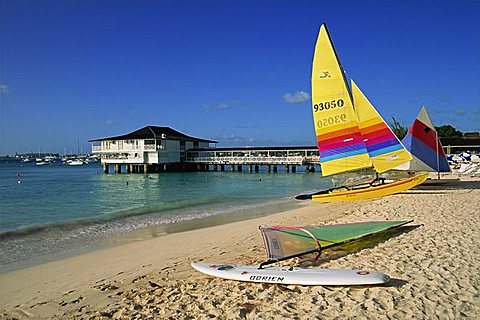 Yellow boat, Pebble Beach, Barbados, West Indies, Caribbean, Central America - 478-715