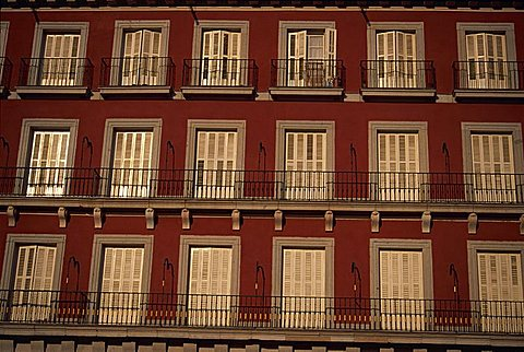 Balconies, Plaza Mayor, Madrid, Spain, Europe