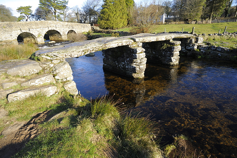 Clapper bridge at Postbridge, Dartmoor National Park, Devon, England, United Kingdom, Europe