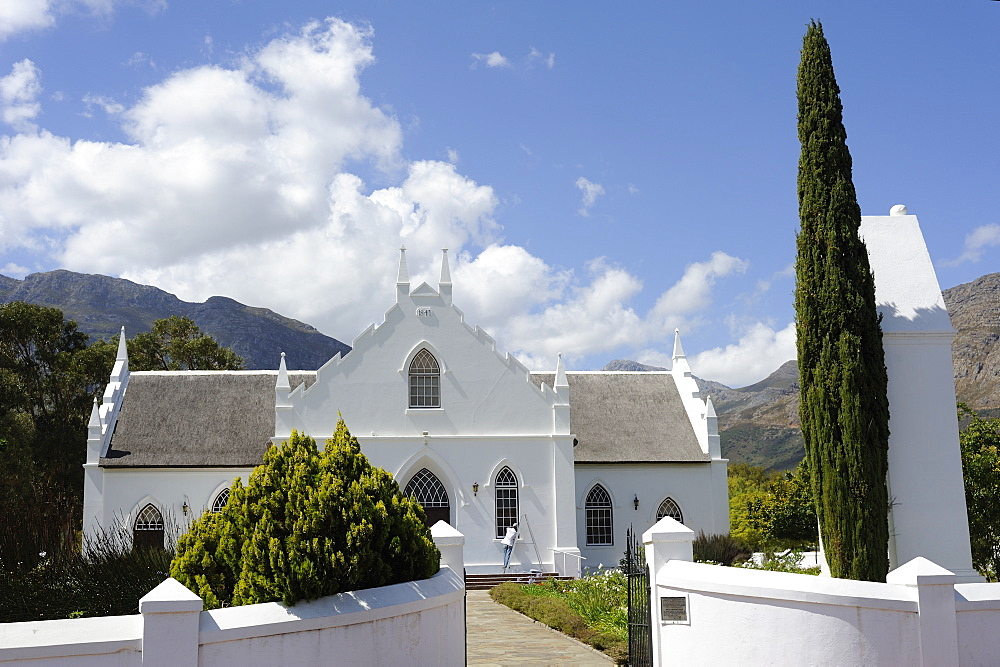 Dutch Reformed church dating from 1841, Franschhoek, The Wine Route, Cape Province, South Africa, Africa - 483-1555