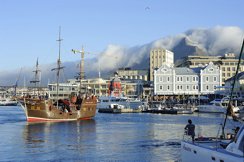 Replica pirate ship, Waterfront harbour, Table Mountain in background, Cape Town, South Africa, Africa