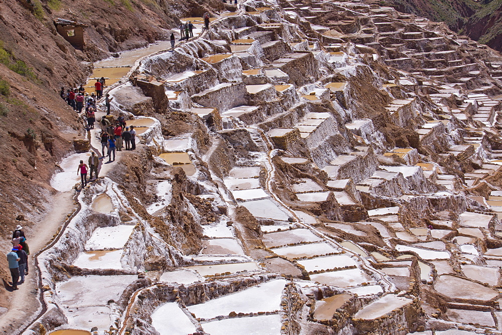 The salt mines of Las Salinas de Maras, where each little plot is individually owned, Peru, South America