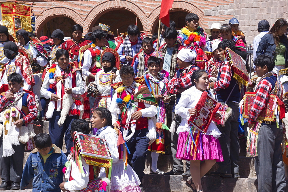 Religious festival in preparation for the Corpus Christi festival, Urcos, Peru, South America