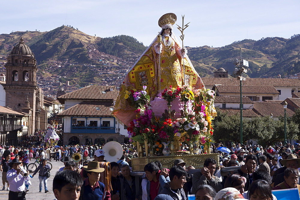 The festivities of Corpus Christi, the most important religious festival in Peru, held in Cuzco, Peru, South America