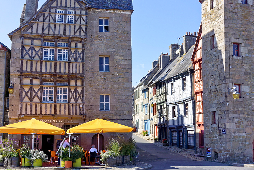 Colombage houses, Treguier, Brittany, France, Europe