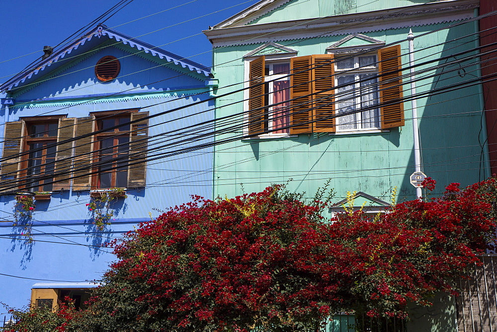 Colourful houses, Valparaiso, UNESCO World Heritage Site, Chile, South America