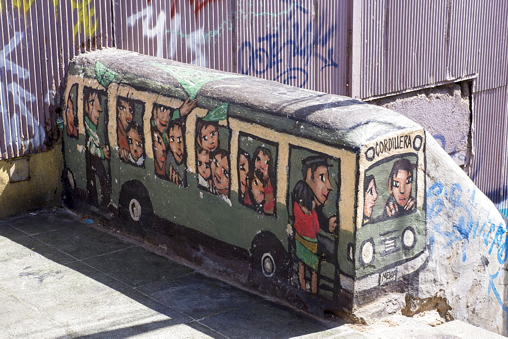 Wonderful graffiti, Valparaiso, UNESCO World Heritage Site, Chile, South America