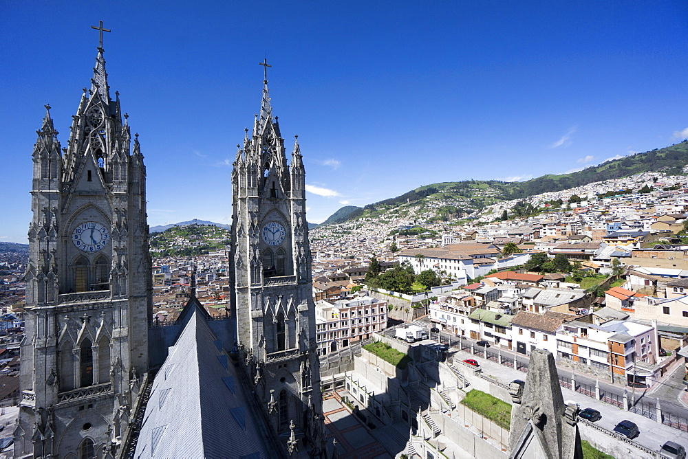 Basilica del Voto Nacional (Basilica of the National Vow), and city view, Quito, Ecuador, South America