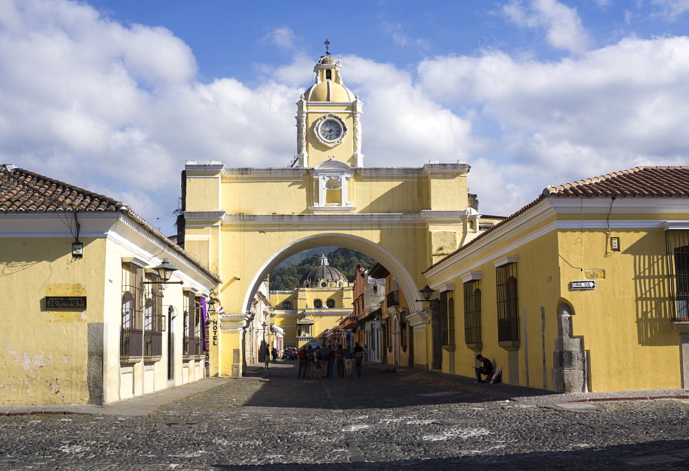 Arch leading to Merced church, Antigua, UNESCO World Heritage Site, Guatemala, Central America