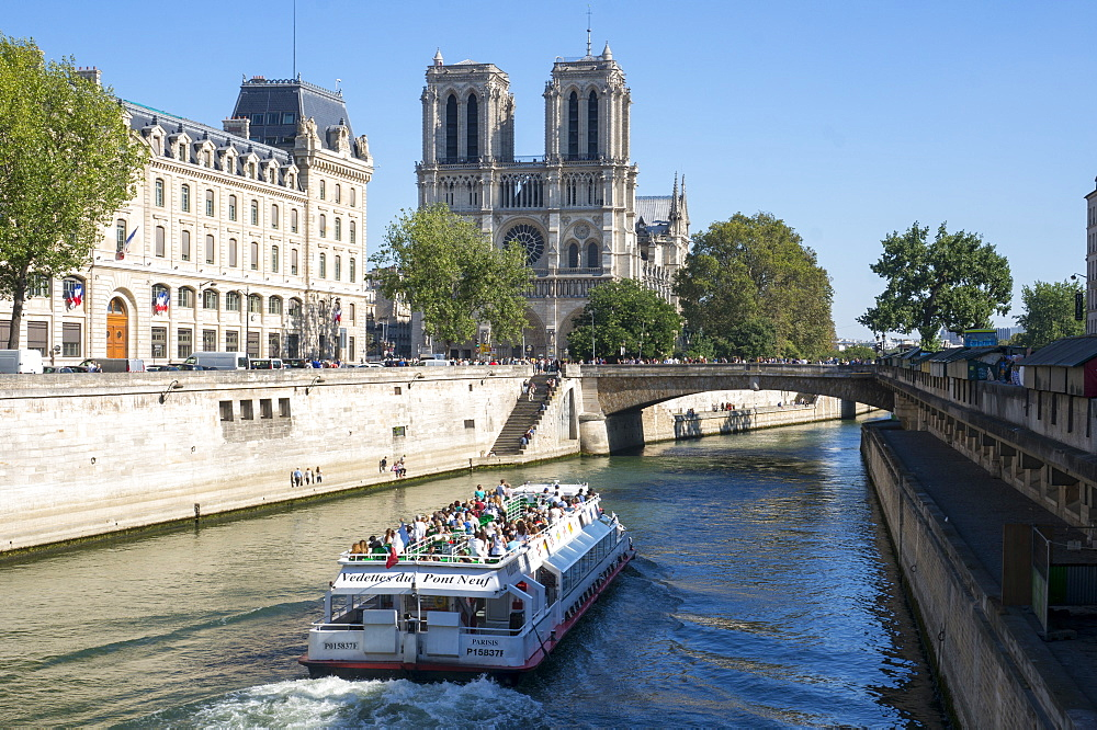View of the River Seine and Notre Dame Cathedral, Paris, France, Europe