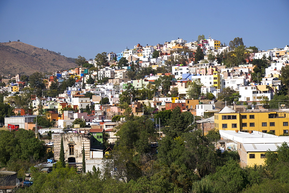 View from Templo de San Diego, distant view of the city, Guanajuato, Mexico, North America