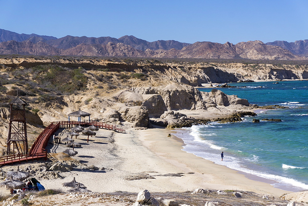 Beach and whale watch tower, Cabo Pulmo, UNESCO World Heritage Site, Baja California, Mexico, North America