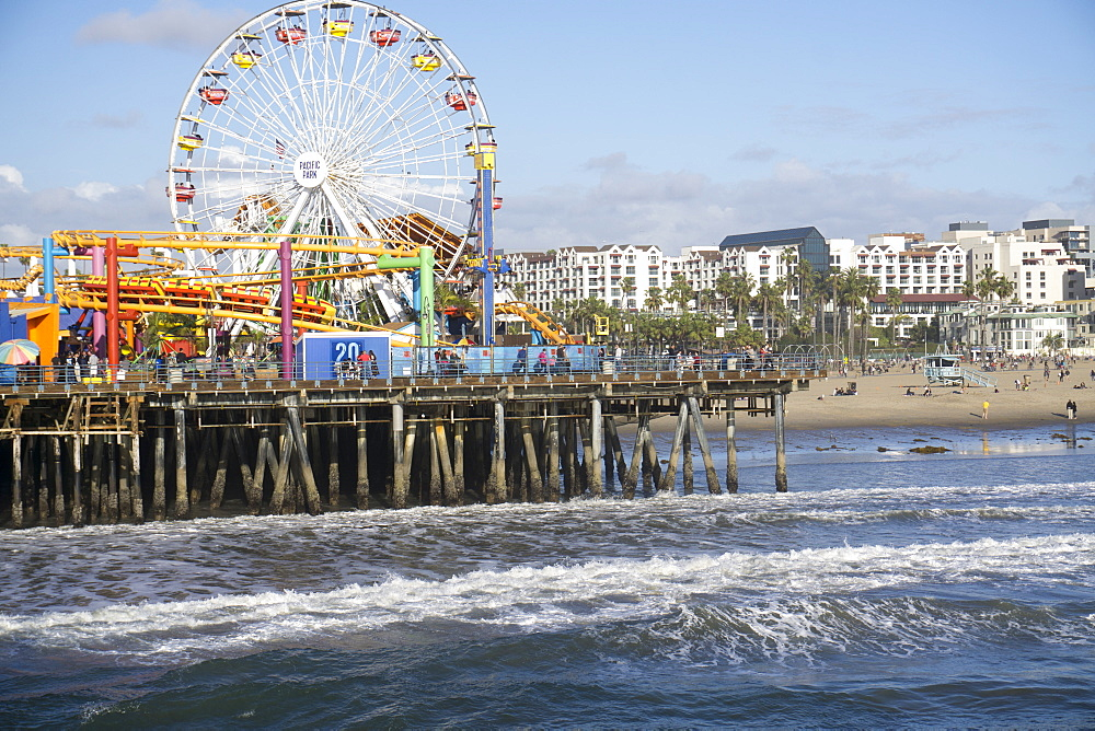 Sea, pier and ferris wheel, Santa Monica, California, United States of America, North America
