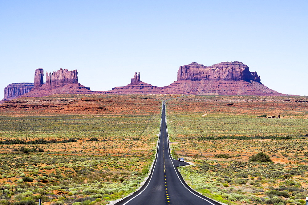 Rock formations and roads, Arizona, United States of America, North America