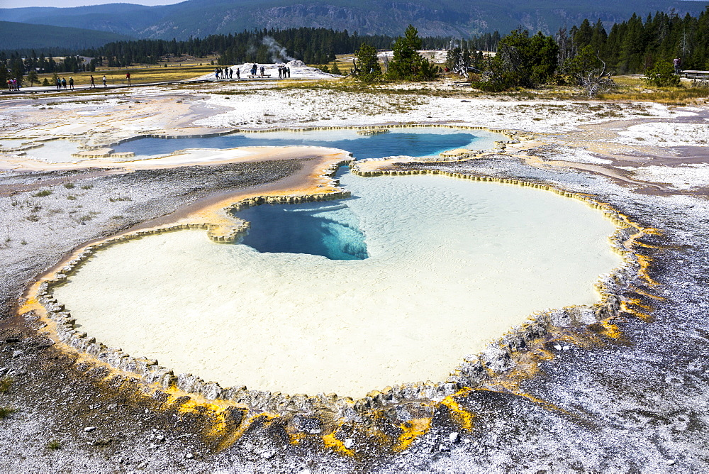 Blue holes and white crystals, Yellowstone National Park, UNESCO World Heritage Site, Wyoming, United States of America, North America - 483-2086
