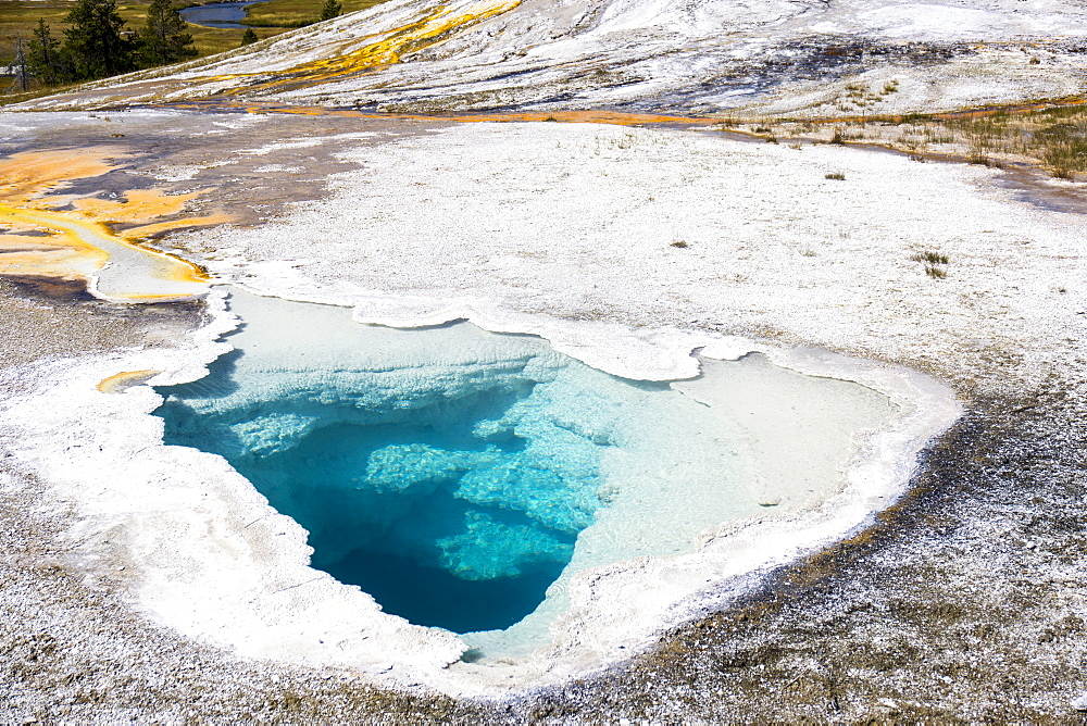 Blue holes and white crystals, Yellowstone National Park, UNESCO World Heritage Site, Wyoming, United States of America, North America