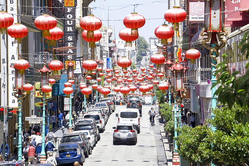 Red lanterns, China Town, San Francisco, California, United States of America, North America