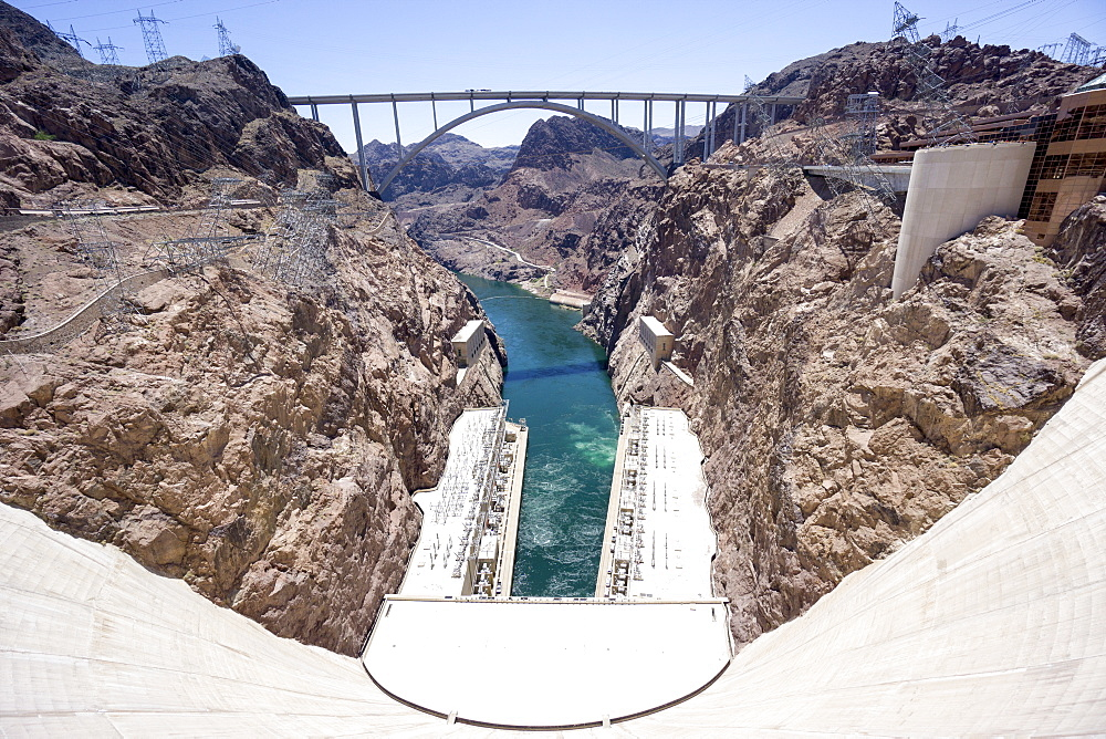 Hoover Dam and lake, border of Arizona and Nevada, United States of America, North America - 483-2126