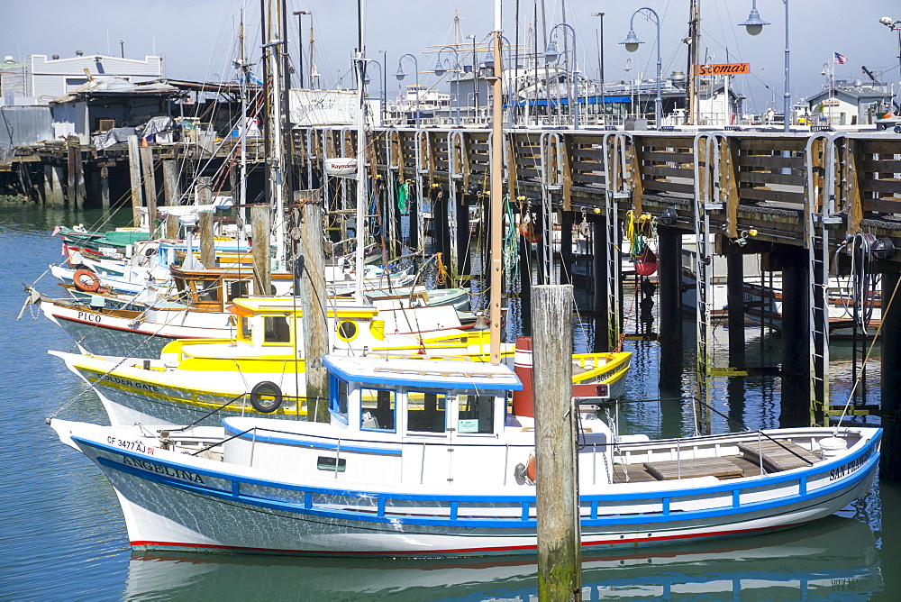 Fisherman's Wharf and colourful fishing boats, San Francisco, California, United States of America, North America