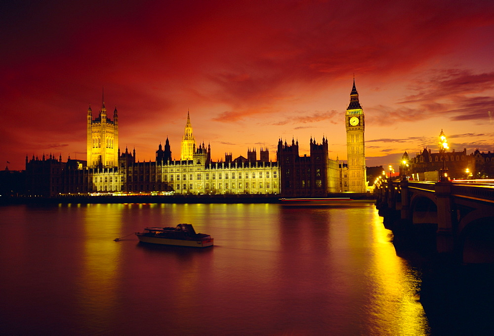 The River Thames and Houses of Parliament at night, London, England, UK - 485-1074
