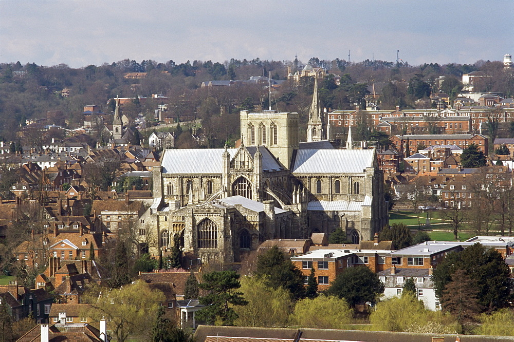 City and cathedral, Winchester, Hampshire, England, United Kingdom, Europe