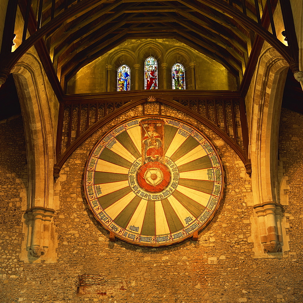King Arthur's Round Table mounted on wall of Castle Hall, Winchester, England, United Kingdom, Europe