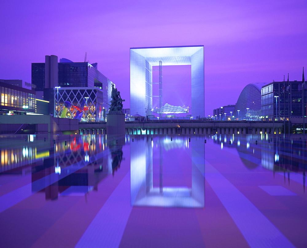 Evening reflections, La Grande Arche, La Defense, Paris, France, Europe - 485-5748